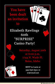 casino party invitation 60th birthday dealing cards