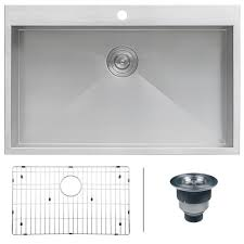 top mount stainless steel sink ruvati drop in top mount stainless steel 33 in 16 gauge single bowl