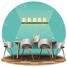 dining room elevation set with background for interior vector
