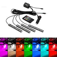 Interior Car Led Light Kits Amazon Com Jojoo 4pcs 9 Led Multi Color Remote Control Car Led