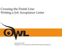 crossing the finish line writing a job acceptance letter a