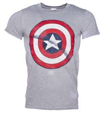 Marvel Super Heroes Clothing Men U0027s Grey Captain America Distressed Shield Marvel T Shirt