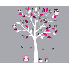 Owl Wall Sticker Pink And Black Owl Wall Decal With Wall Decal Tree For Nursery Or