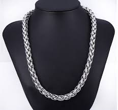 titanium stainless steel necklace images Customize 8mm wide 316l stainless steel thick long chains necklace jpg