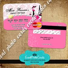 Sweet 15 Invitations Cards Credit Card Invitations Pink