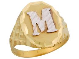Initials Ring Two Tone Real Gold Letter M Diamond Cut Design Oval Initial Ring