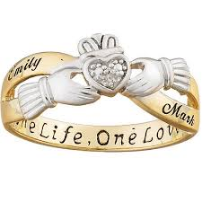 Personalized Name Ring Sterling Silver Claddagh Two Tone Couples Personalized Name Ring