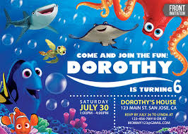 finding dory invitation with free thank you card custom birthday