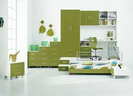 smart furniture arrangement in soft green for catchy kids bedroom