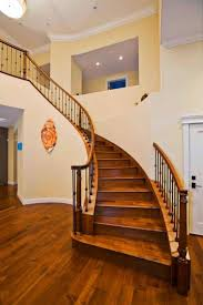 Wooden Handrail Sweeping Indoor Staircase With Wooden Handrail Installing