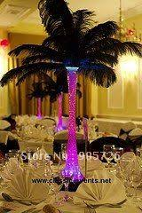 Peacock Feather Centerpieces by Purple