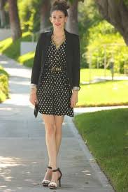 fashion green dress with button tabs black polka dot cardigan