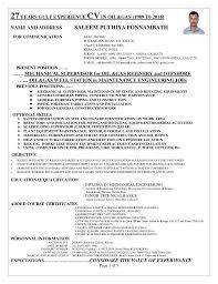 Mechanical Supervisor Resume Sample by Supervisor Cv For Onshore And Offshore Mechanical Mantenance Const U2026