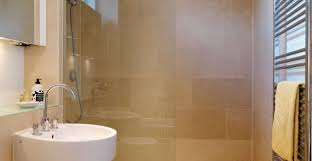 decor spacious small shower room with glass door and neat wall