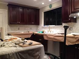 kitchen stone backsplash ideas with dark cabinets powder room
