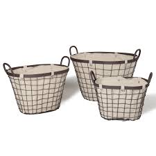 joveco oval urban style baskets with wide rim and snap detail on