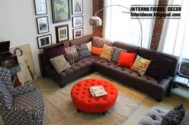 Red Corner Sofa by Red Ottoman And Brown Corner Sofa For Modern Living Room