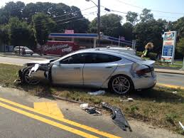 wrecked car tesla model s gets wrecked owner says vehicle saved his life