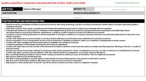 Job Desk Project Manager Abstract Manager Job Description