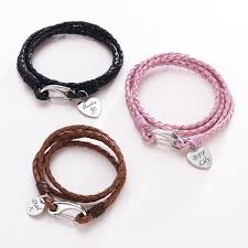 Engravable Charms Leather Wrap Bracelet Engravable Charm Various Colours