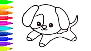 baby dog drawing for kids learn coloring art painting with