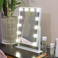 Tabletop Vanity Mirrors With Lights 2017 Fashion Salon Style Hollywood Led Bulds Tabletop Makeup