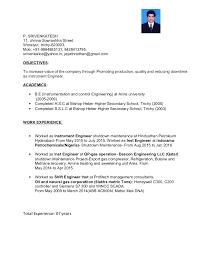 Instrumentation Project Engineer Resume Resume Srivenkatesh Instrumentation Engineer