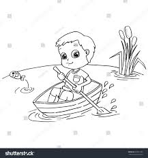 little boy rowing boat coloring page stock vector 669021352