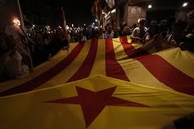catalan pro independence estelada flags turn barcelona streets