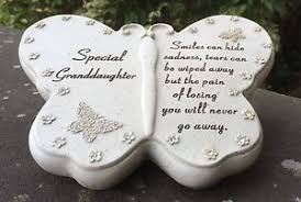 butterfly design grave ornament for special grandaughter funeral