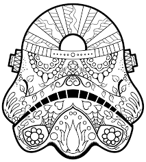 day of the dead darth vader mask coloring page by kawanish