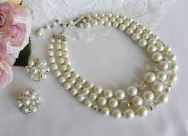 white pearl beaded necklace images Vintage white pearl and crystal beaded necklace and earrings the jpg