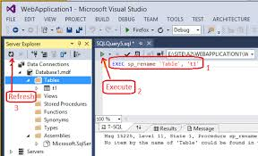 rename table name in sql c how to change the table name in visual studio 2013 in design