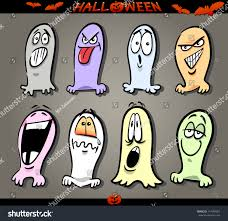 cartoon illustration halloween themes ghosts emotions stock vector