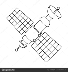 satellite icon in outline style isolated on white background