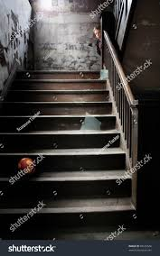 Banister Ball Stairwell Child Peeks Around Corner Banister Stock Photo 68185546