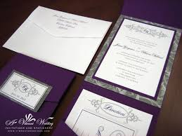 rustic pocket wedding invitations purple and silver wedding invitation pocket fold style wedding