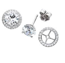 detachable earrings diamond studs with detachable diamond surround jackets stud