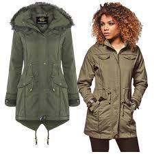 womens brave soul parka padded lightweight lined jacket faux fur