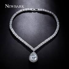 long drop pendant necklace images Newbark luxury water drop pendant necklace silver color pear shape jpg