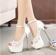 high heels designer bridal white lace wedding shoes designer shoes ankle 16cm