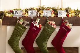 decorating mantel christmas stocking hangers with pottery barn