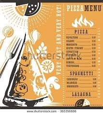 pizza menu document layout pizzeria menu stock vector 365356886