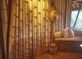 traditional house design with pretty bamboo wall panels ideas also