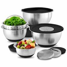 wolfgang puck stainless steel mixing bowls with lids 12 piece set
