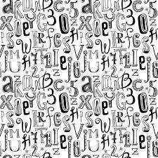 pattern and numbers sketch hand drawn doodle black alphabet letters and numbers seamless