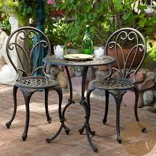 Patio Furniture Pub Table Sets - thomas cast aluminum dark gold 3 piece bistro set by christopher