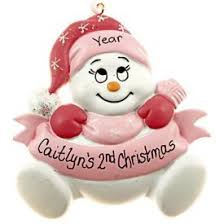 baby s second pink snowbaby ornament personalized