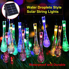 Ter Proof Light Fixtures Hoozgee Solar String Lights Outdoor Multicolor 20 Led Water Drop