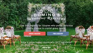 wedding registry site domino s delivers wedding registry site for s day
